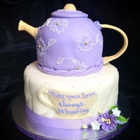 "Bridal Shower Teapot Cake Teapot is 3 layer 8"" carved into shape. Spout, handle and lid are fondant. Brush embroidery floral accents. Base cake is 10""...."
