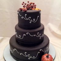 Dark Chocolate Fondant Wedding Cake I used Satin Ice Dk Choc. fondant for this cake, and used The Mat to roll it out with for the very first time!! (Love that thing!!!) WASC...