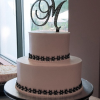Black And White Wedding Cake Clean and Simple wedding cake for an intimately sized wedding. Dark chocolate cake with rasp bc filling, vanilla bc finish. The fondant...
