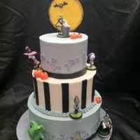 Nightmare Before Christmas Halloween Cake This cake was so much fun to make! Each tier was a different flavor, the finish was buttercream, with little fondant pumpkins and stripes....