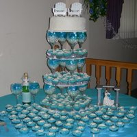 Beach Themed Cupcake Tower My first wedding and first cupcake tower -- and no disasters!