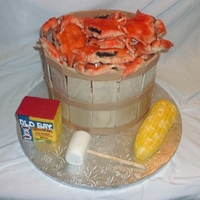 Crabs For The Groom! Bride-to-be ordered this cake for her groom as a surprise. He's from Maryland and loves his crabs and Old Bay. All edible. Corn,...