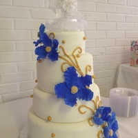 Royal Blue And Gold Wedding Cake Thanks for alll the inspirations here on CC but the bride LOVED BAKERFAIRY'S design the best!! TFL