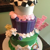Onederland Birthday Cake WASC with fondant and gum paste details. Inspired by the many Wonderland themed cakes on CC. My fave detail...Alice's tumble :).
