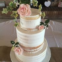 Nearly Naked Wedding Cake Wedding was very rustic and simple. WASC with buttercream, gum paste flowers