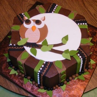 Wise Old Owl Subliminal message for father's day. Heavy chocolate cake with ganach and rolled fondant.