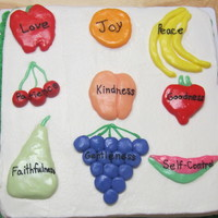 Fruit Of The Spirit Cake For Vacation Bible School  I used butter fondant for the fruit. It was easier to make the shapes with butter fondant than regular fondant. I was surprised it was that...
