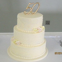 50Th Wedding Anniversary Cake Lemon Cake With Buttercream Icing And Gumpaste Roses   50th Wedding Anniversary cake. Lemon cake with buttercream icing and gumpaste roses.
