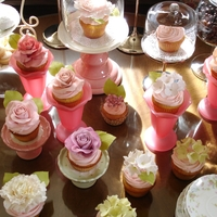 Tea Party   Varitey of cupcakes with gumpaste flowers