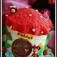 Minnie Mouse Cottage It's a 6 inch vanilla nutella cake. Decorated for a girl who loves Minnie Mouse.