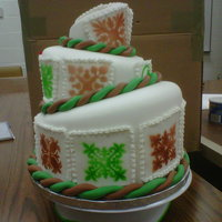 Hawaiian Quilt Cake   Banana, Chocolate & Strawberry tiers. Air brushed patterns.