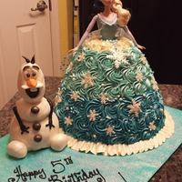 Disney's Frozen Elsa And Olaf Cake bottom of Olaf is a cake.. .hand carved round cakes for her dress and fondant snowflakes