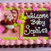 Sophiea's Baby Monkey Frosted in buttercream, then air brushed and added the rest of the decorations in Fondant. Enjoy