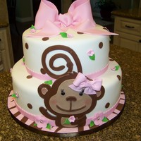 Monkey Themed Baby Shower Cake For A Baby Girl