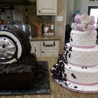 Muddy Tire Grooms Cake Spun Out On The Brides Cake Chocolate grooms cake w/ RCT tire, covered in chocolate bc icing and fondant and cake/icing mud that has spun out all over the brides cake...