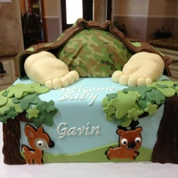 Camo Baby Rump Cake Vanilla cake and rump w/ modeling chocolate legs & feet, blanket, animal critters & trees.