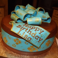 Blue And Brown Gift Box Cake