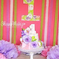 Wafer Paper Smash Cake  All wafer paper decor. Hand painted wafer paper. I used the knowledge I had from making paper flowers to make the flowers on this cake....