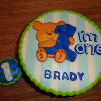"Baby's First Birthday 9"" 2-layer round cake covered in BC & MMF. Cake was decorated to match the party decorations. Everything is made from MMF. The..."