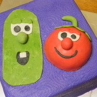 "Veggietales Nephews 2nd birthday. He was in LOVE with ""Veggies"" as he called them! Bob is fondant over half a ball cake. Larry and all other..."
