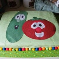 Veggietales Sheet Cake This was for my nephew's 4th bday. Buttercream w/ fondant border. I cut Bob and Larry out of construction paper and laminated them.