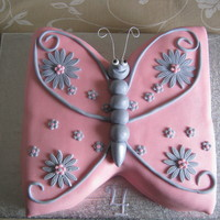 "Pink Butterfly birthday cake for my nice she wanted the cake to match her dress.10""cake cut in the ? &put together in the opposit side covered &..."
