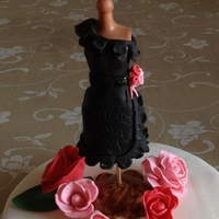 Black Party Dress mannequin barbie doll dressed with hand made gumpaste dress