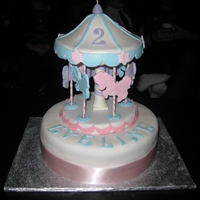 "Carousel 10""vanilla cake and 3D chocolate mold carrousel bottom and top ,gumpaste horses"