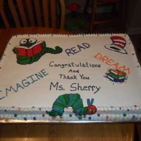 Librarian Cake This is a full sheet cake done for the local county youth librarian. She won the Youth Librarian State award. Marble cake, all buttercream...
