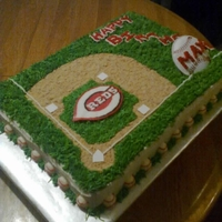 Reds Baseball Cake 1/2 sheet two layer cake. BC w/ crushed graham crackers for the ball field diamond. The bases were cut out sugar sheet.