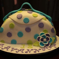 Simple Purse Cake 10 in round red velvet with mmf