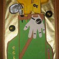Golf Bag I made this golf bag cake for my hubby's birthday. He graduated from Georgia Tech, so I went with that theme for the club covers and...