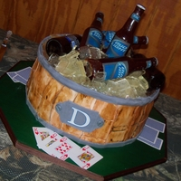 "Bucket O' Bud 16"" round, poured sugar bottles, made ice in wilton square brownie bites pan, hand made bottle molds, labels are edible images"