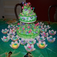 Tinkerbells Garden This is a 2 tier cake with cupcakes for my Granddaughters 5th birthday my 1st cake after hand surgery.