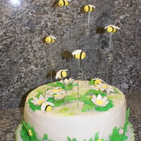 "Bumble Bee Cake This is a cake I made for my son's end-of-year gymnastics awards banquet. It was outdoors, so I chose a ""summery"" theme of..."