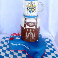 Octoberfest Cake.  This birthday cake was for a German man and Australian wife who celebrated their birthdays with an Octoberfest party. The bottom tier is a...