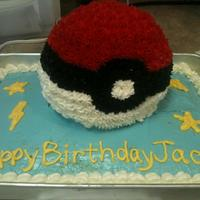 Pokemon Pokeball Birthday Cake 1 box Betty Crocker yellow in 9x13 base, 1 box Betty Crocker yellow in Wilton sports ball pan. Canned icing tinted blue on base, Wilton &...