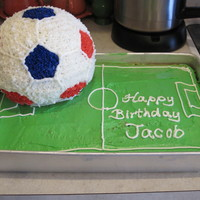 "Soccer Ball Birthday Cake For my son's 8th birthday. Standard Betty Crocker yellow cake mix, Wilton ""class buttercream"" icing."