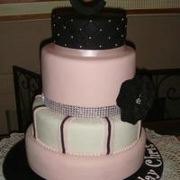 Pink Black And White With A Touch Of Blingchocolate Mud Cake With Chocolate Ganache Covered With Fondant Pink black and white with a touch of Bling...chocolate mud cake with chocolate ganache covered with fondant.