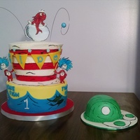 Dr Seuss Birthday Made for my friends son turning one. Buttercream with fondant accents. Character's I traced to rice paper. Green eggs and ham smash...