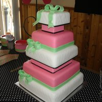 Not Pink Wedding Cake  This was for the best bride ever! I was told hot pink, green and white. Here's what she got and it fit the whole wedding theme...