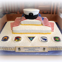 Retirement Cake For A Us Navy Master Chief There Was Supposed To Be A Ships Wheel With The Navy Emblem In Center Of It But It Broke Durin Retirement cake for a US Navy Master Chief. There was supposed to be a ships wheel with the Navy Emblem in center of it, but it broke...
