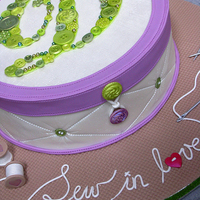 "Sew In Love Bridal shower theme was ""Sew in love"" and this was my response: a sewing basket with the initial made of fondant buttons. Bride..."