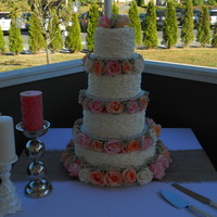 "14 10 8 6 Buttercream Frosted With A Ruffle Look On The Sides Using A 104 Rose Tipreal Roses 14"", 10"", 8"", 6"" - Buttercream frosted with a ruffle look on the sides using a #104 rose tip.....real roses"