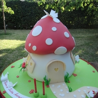 Toadstool   That was a cake for 60 people. I baked each into a bowl shaped pan.