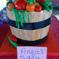 Fruit And Veggie Basket Made this for the lady that runs the local farmer's market. She let it slip when her birthday was. :) 3 layers high. Buttercream crumb...