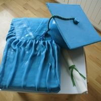 Cap And Gown This was for my niece's high school graduation. Gown is red velvet with cheesecake mousse filling and cap is French vanilla with...