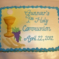 Gunnar's 1St Communion small sheet cake, all buttercream, sugar mold of chalice and host