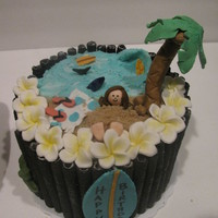 Tropical Beach Themed Cake Tropical themed cake for a friend's birthday. Vanilla cake with cream cheese frosting and fresh strawberry filling. Oreo stix around...