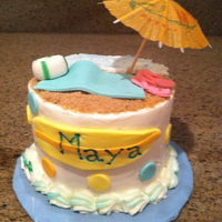 Pre-Schoolers Beach Graduation Cake These cakes were 4 inch cakes for 2 pre-schoolers graduating and off to kindergarten. They wanted beach themed. It is buttercream cake with...